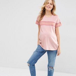 ASOS Maternity retro pink stripe tee 🤰